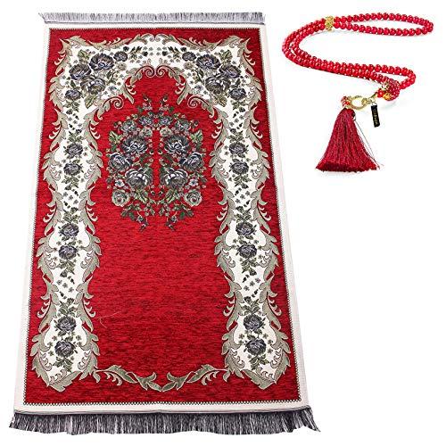 Alfombra de oración Musulmana con los Granos de rezo de Regalos | Janamaz | Sajjadah | Soft islámica Prayer Rug | Regalos islámicos | Alfombra de oración, de Chenilla Tela, Granate