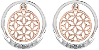 Perrian Rose Gold 0.05 Carat Round (SI2 Clarity, GH Color) Diamond Earrings for Women