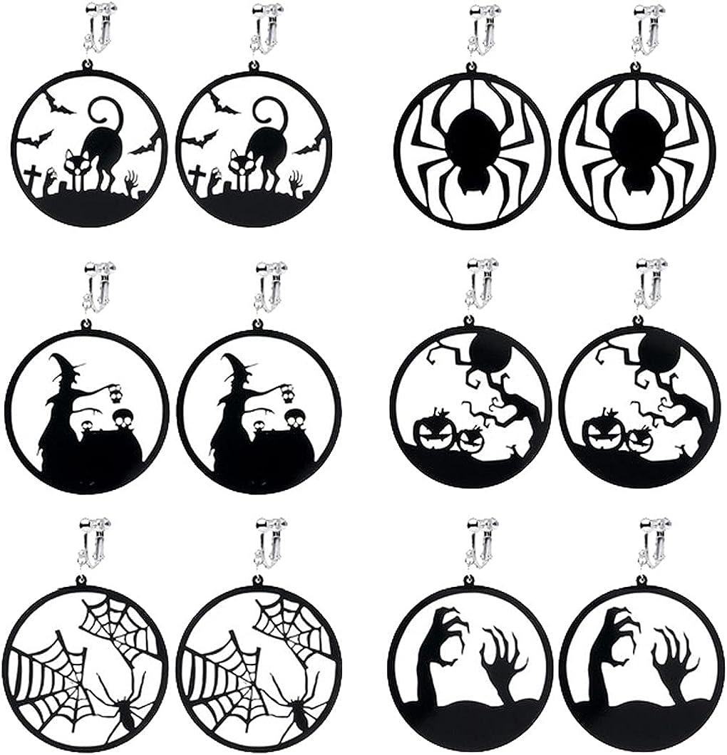 Halloween Clip on Earrings for women, 6 Pairs Acrylic Halloween Screw Back Earring Sets Bat Cat Spider Web Pumpkin Witch Ghost Hand Round Dangle Drop Hook Earrings for Women Girls Kids Funny Jewelry