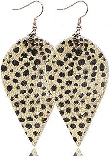 Fusamk Punk Rock 2PCS Alloy Hook Earrings Drop Dangle Leopard Pattern Leather Earrings