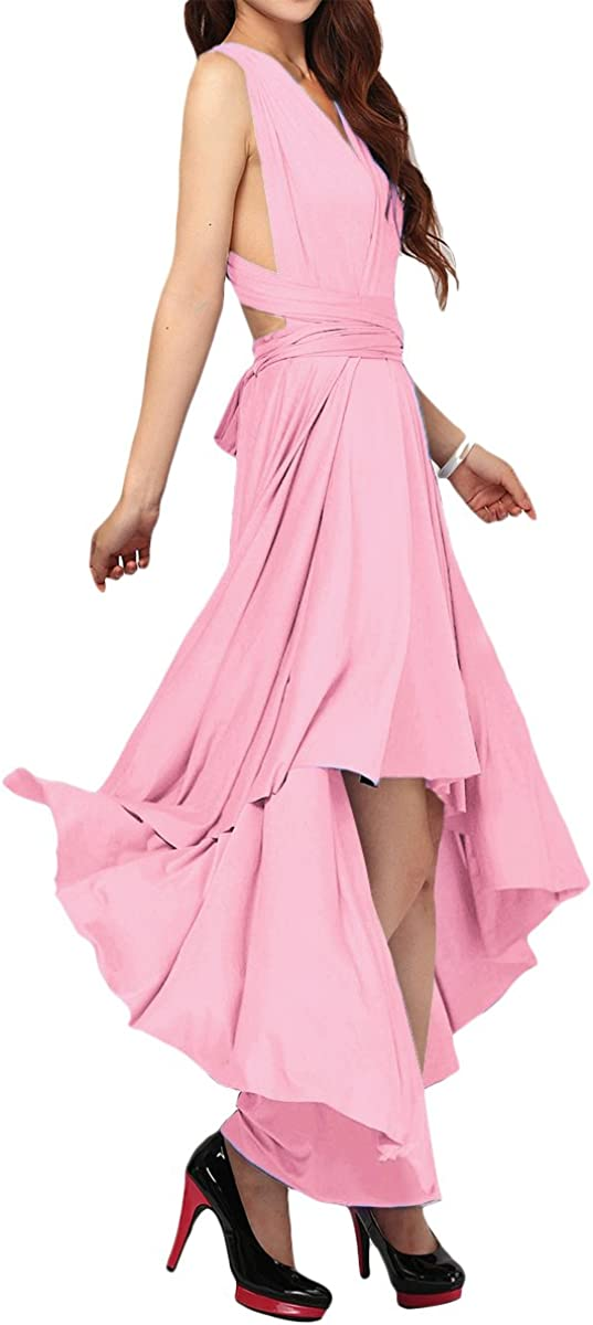 OwlFay Women's Convertible Transformer Bandage Multi Wrap High Low Cocktail Party Dress