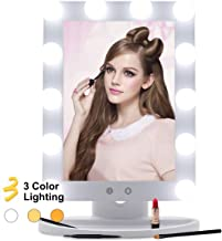 Hollywood Vanity Mirror With Lights 3 Color Lighting Modes Lighted Makeup Mirror Touch Control 12 LED Bulbs Dimmable Large Desk Mirror, 25° Tilt Free Standing Tabletop Light up Beauty Mirrors White
