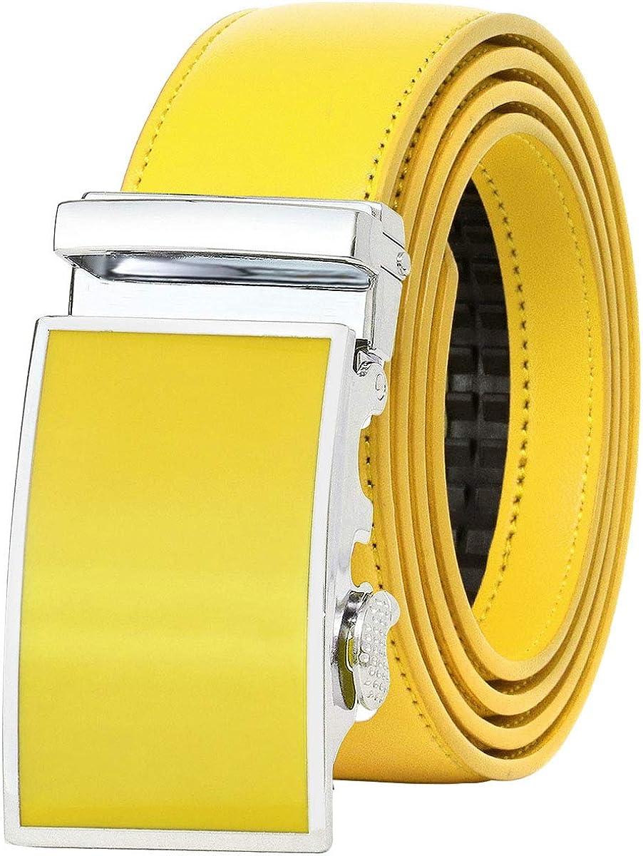 Falari Leather Dress Belt Ratchet Belt Holeless Automatic Buckle Adjustable Size 8001