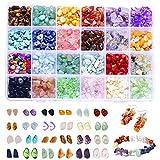 Souarts 24 Types Perles en Pierre (Naturel) Irrégulier Mixte 4mm-8mm pour DIY Fabrication Bijoux (Colore)