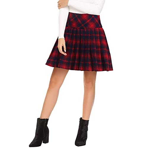 3e03ed596e Beluring Womens High Waisted Plaid A-Line Mini Skirt