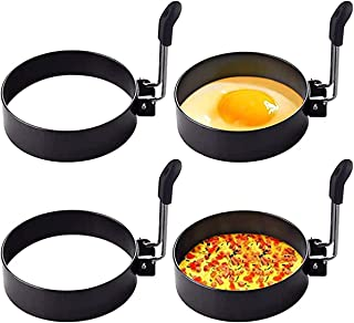 KASTWAVE Professional Stainless Steel Non Stick Egg Ring, 4 Pack Round Breakfast Household Mold Tool Cooking, Round Egg Co...