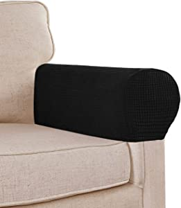 Stretch Sofa Armrest Covers Spandex Jacquard Arm Covers for Chairs and Sofas Anti-Slip Couch Armrest Covers with Sticker Furniture Armrest Protector for Sofa Couch Chair Recliner, Set of 2, Black