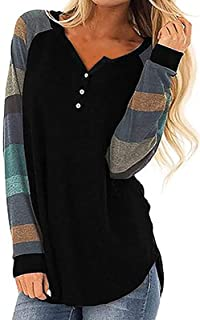 YOYHX Women's Fashion Stripe Stitching Long Sleeve Round Neck Button Collar Top