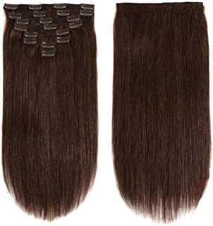 24Inch Clip in Human Hair Extensions Double Weft Thick Real Hair Extensions Clip in Unprocessed Brazilian Virgin Straight Human Hair Clip on Extensions Grade 8A Dark Brown 8Pcs 20Clips/Lot with 120g