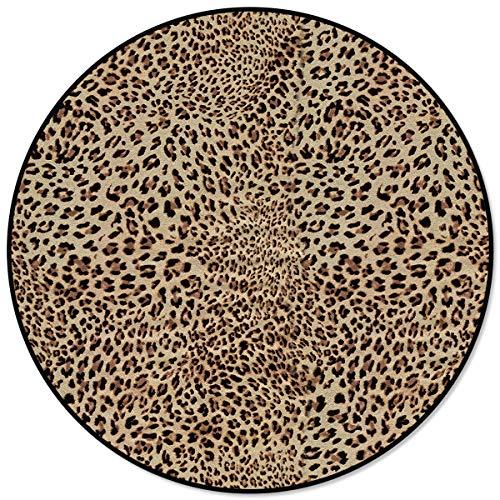 OneHoney Round Area Rugs, Fierce Leopard Print Indoor Entryway Doormat Throw Runner Rug Floor Carpet Pad Yoga Mat for Living Room Bedroom Animal Theme 5 Feet