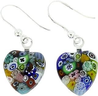 GlassOfVenice Murano Glass Millefiori Heart Earrings - Silver Multicolor