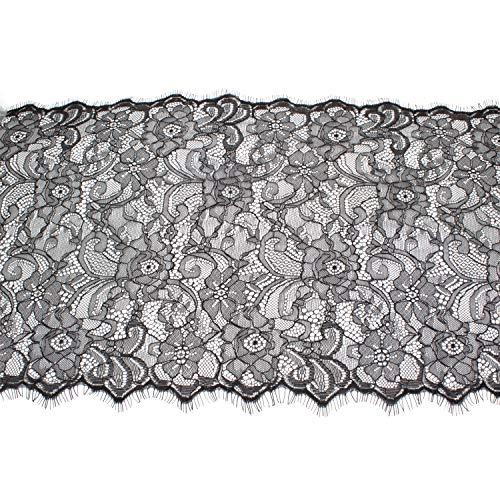 Trimming Shop 320mm Brede Zwarte Bloemen Kant met Geborduurde Applique Weblike Patroon voor Bruidsjurk Décor, Frill Kleding, Sieraden maken, Haak Projecten, 3 meter