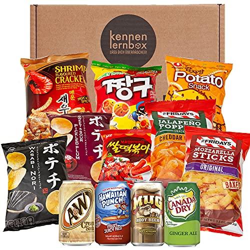 Snack Party Box   Kennenlernbox mit 12 beliebten Chips und Getränke aus den USA, Korea und Japan   Für Filmabende oder als Geschenkidee für besondere Anlässe