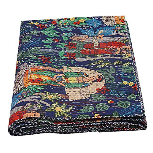 Indian Handmade Frida Kantha Quilt New Frida Kahlo Printed Kantha Bedspread Boho Bedding Queen Size Bed Cover