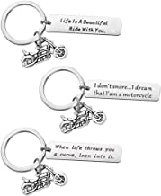 CLISPEED 3pcs Ride Safe Motorcycle Keychains Stainless Steel Tag Motorbike Charms Keyrings Biker Gifts Birthday Gifts for ...
