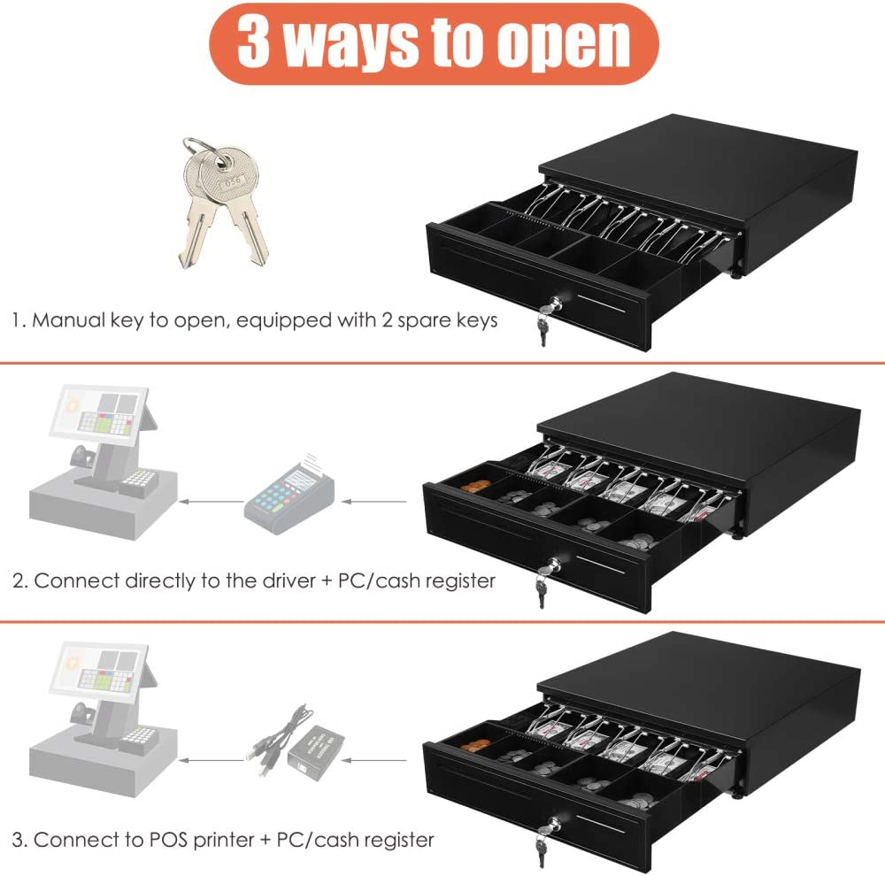Cash Registers System with 5 Bill 5 Coin Cash Tray for Restaurant ...