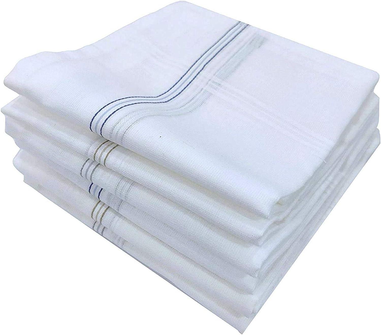 Garden Of Arts Men's Premium White Base Coloured Border Cotton Handkerchief set of 3 piece