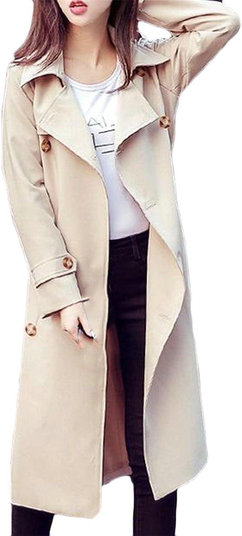 Blyent Womens Lapel Neck Double Breasted Pocket Classic Jacket Coat Midi Trenchcoats