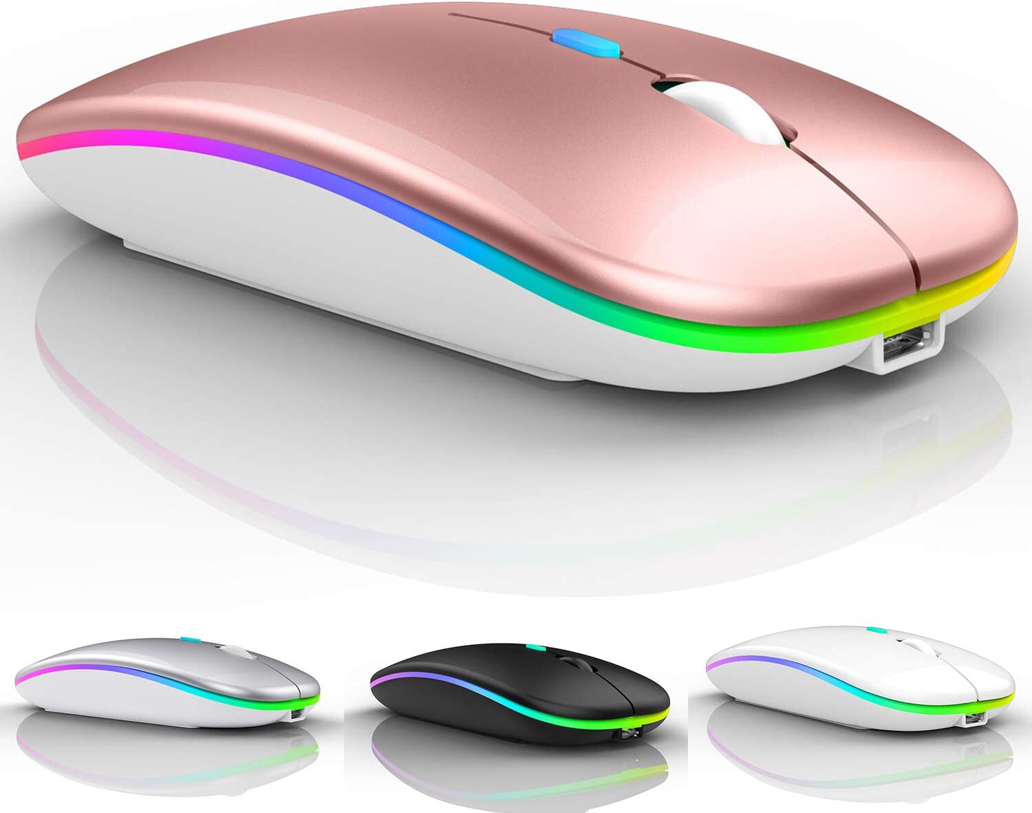 Bluetooth Mouse for ipad,Bluetooth Mouse for MacBook Air/Mac/MacBook Pro/Mini/ipad Pro/iMac/Laptop,Rechargeable Wireless Mouse for MacBook Air/MacBook pro Chromebook Laptop PC (Rose Gold)