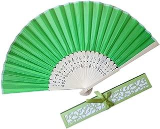 Folding Fan Vibola Chinease/Japanese Folding Silk Hand Fan, Women Hand Folding Fans Hand Fan Gift fan Craft fan Folding Fan Dance Fan (Green)