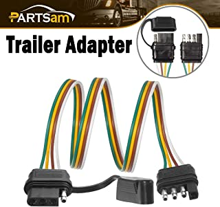 Partsam Trailer Wire Extension Plug, 4 Pin Hitch Light Trailer Wiring Harness Extender with Rubber Cab for LED Brake Tailgate Light Bar, 32