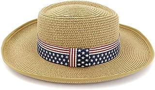 WELSUN Summer Hats for Women Sun Caps Round Flat Top Bow Beach Hat Panama Straw Wide Brim Hat (Color : Khaki, Size : 56-58CM)