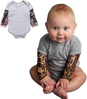 PAUBOLI Body z rękawami imitującymi tatuaże, koszulka, jednoczęściowe body dla chłopca, 3-24 miesiące, szary, czarny