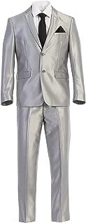 King Formal Wear Elegant Men's Slim Fit Two Button Two Piece Suit (36 Regular, Silver Shiny) … …………
