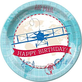 Time Flies Airplane Pilot Birthday Dessert Plates Party Tableware Supplies Decorations