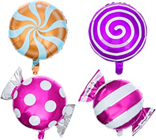 Toyvian 12pcs Candy Lollipops Foil Balloons Helium Aluminum Birthday Balloon Party Decoration Supplies Assorted Color