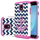 MAIKEZI TPU Plastic case for Samsung Galaxy J3 2018/J3 V 3rd gen/J3 Eclipse 2/Orbit/Achieve/ExpressPrime/Prime2/Amp Prime3/Emerge 2018/Sol 3/J3 Aura/Star(Pink Anchor)