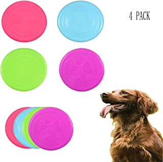 OBTANIM 4 Pack Bite-Resistant Medium-Sized Silicone Frisbee Game Toy for Dog Flying Disc Training Tools for Outdoor, Random Colors (6.9 Inch)