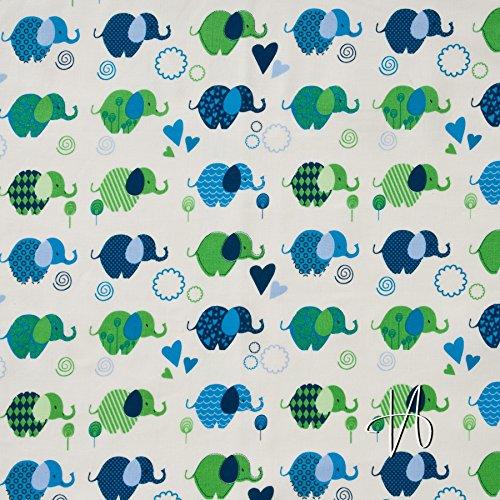 MIRABLAU DESIGN Stoffverkauf Baumwolle Batist Elefanten grün blau weiß (23-006M), 0,5m