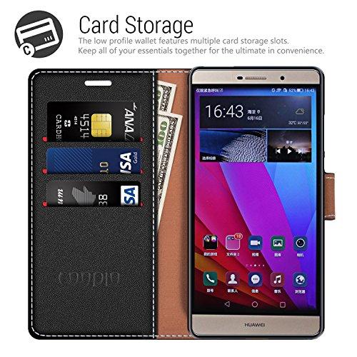COODIO Handyhülle für Huawei P8 Max Handy Hülle, P8 Max Hülle Leder Handytasche für Huawei P8 Max Klapphülle Tasche, Schwarz/Rot - 2