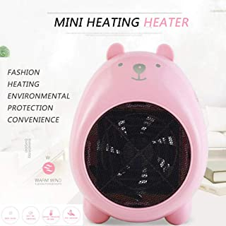 Yuan Dun'er Calefactor Aire Caliente baño,Mini Dibujos Animados 400 W Calentadores eléctricos Mano Caliente pequeño Calentador de Escritorio Lindo Ventilador cálido para la Oficina doméstica-Rosado