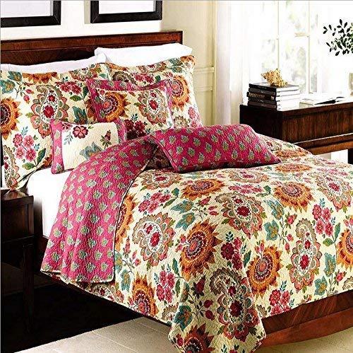 Best Bedding Sets 3 Pieces Cotton Printed Floral Patchwork Bedspread Quilt Sets (King)