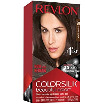 Revlon Colorsilk Beautiful Color, Permanent Hair Dye with Keratin, 100% Gray Coverage, Ammonia Free, 20 Brown/Black