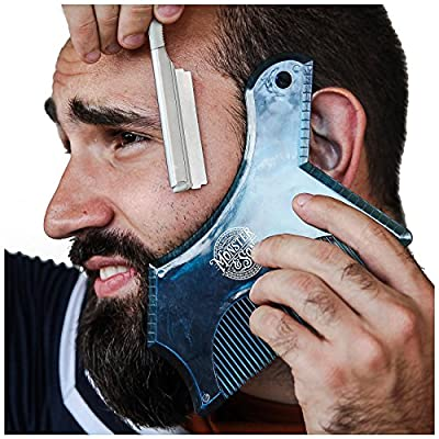 Monster&Son Beard Shaping Tool - New Innovative Design for 2019 (Blue Clear) by Monster&Son