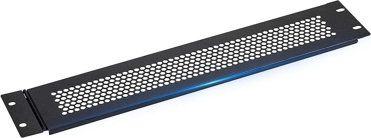 Black 2U Blank Rack Mount Panel Spacer with Venting for 19-Inch Server Network Rack Enclosure Or Cabinet