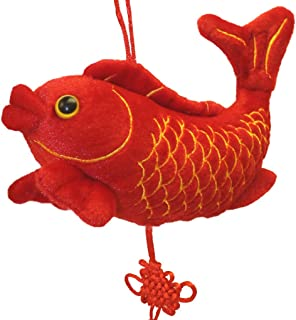 Lucore 7 Inch Plush Red Carp Fish Lucky Charm Hanging Ornament - Feng Shui Home Decor Decoration Accent