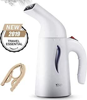 JSD Steamer for Clothes, 7 in 1 Powerful Handheld Fabric Steamer, 150ml Garment Steamer Perfect for Home and Travel, Travel Pouch Included [Yellow Hanger]