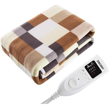 singway 電気毛布 5段温度調節 タイマー付き 160X80cm 漏電保護 火事防止 コントローラ 丸洗い可能 ふわふわ 肌触り良い 暖かい ギフト 敷毛布 冬用寝具 110V