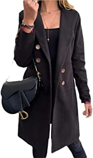 Women's Winter Wool Blend Lapel Double Breasted Pea Coat Trench Coat
