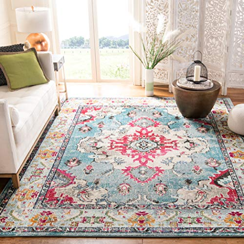 "Safavieh Monaco Collection MNC243J Vintage Bohemian Light Blue and Fuchsia Distressed Area Rug (6'7"" x 9'2"")"