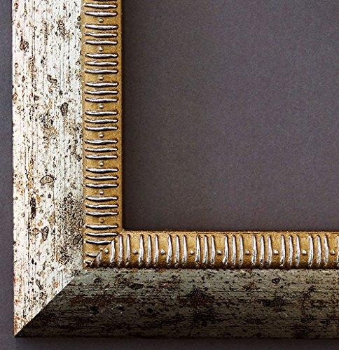 Bilderrahmen Turin Silber 4,0 - WRU - 28 x 35 cm - 500 Varianten - alle Größen - handgefertigt - Galerie-Qualität - Antik, Barock, Modern, Shabby, Landhaus - Fotorahmen Urkundenrahmen Posterrahmen