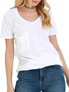 Women's Summer Casual Sexy Short Sleeve V Neck Patch Pocket Slub Texture Tee Loose Top Tshirt