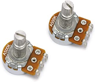 Metallor Mini Alpha Pots Log A500k Volume Audio Potentiometer Electronics for Electric Guitar or Bass Guitar. (Mini A500k)