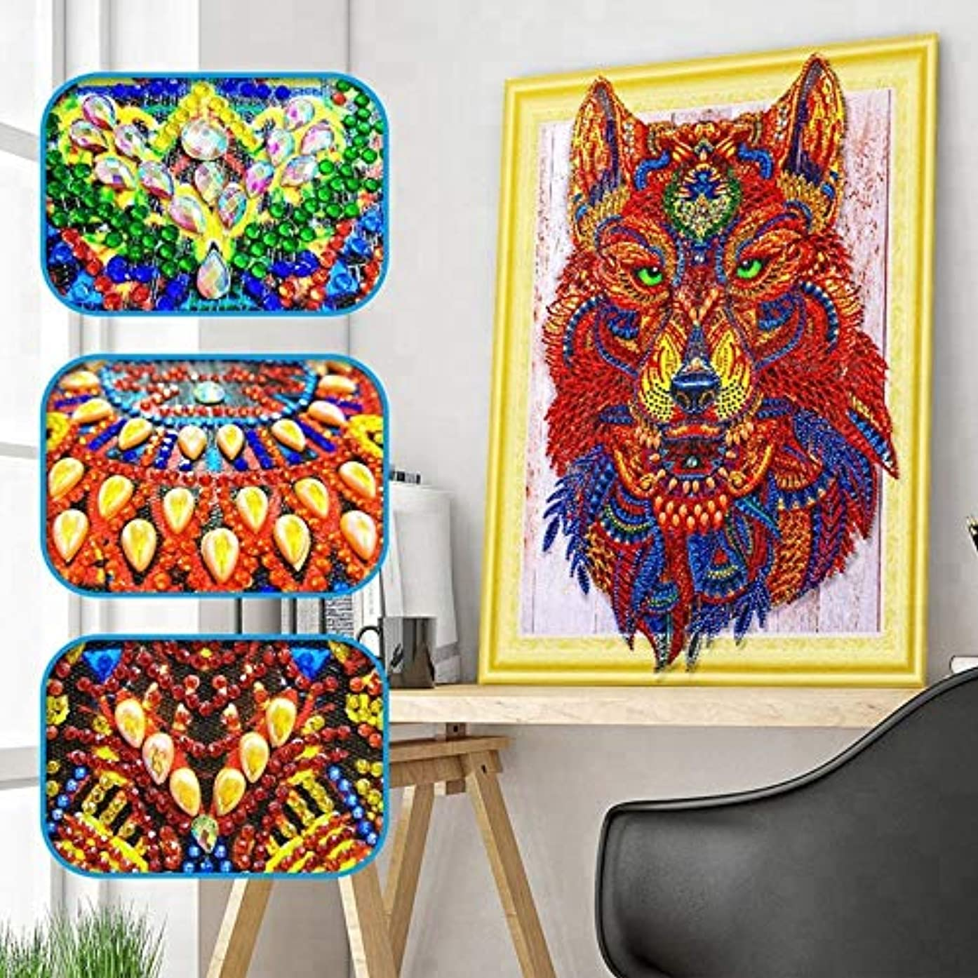 5D DIY Special Shaped Diamond Painting Kit, 15.7X 11.8 Inch Crystal Rhinestone Diamond Embroidery Paintings Pictures Arts Craft for Home Wall Decor (Green Wolf)