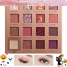Eyewin New Eye Shadow Palette & Eyebrow Tattoo Pen Kit, 16 colors Eye Shadow with Mirror Waterproof Dark Brown Eyebrow Pencil a Micro-Fork Tip for Wedding Halloween Party Daily Make-up