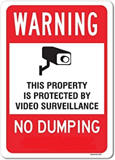 eSplanade Warning No Dumping Sign, Video Surveillance Sign Sticker Decal - Easy to Mount Weather Resistant Long Lasting In...
